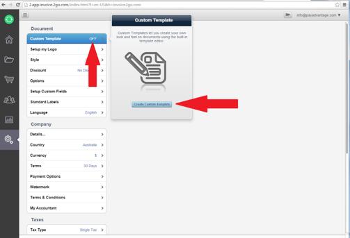 click on create custom template